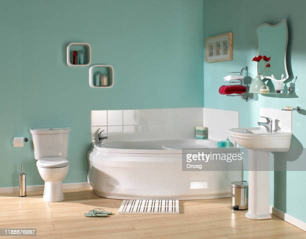 large luxurious bathroom - domestic bathroom stock pictures, royalty-free photos & images