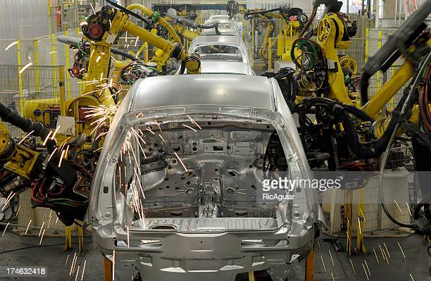 Large Machinery building new cars in factory