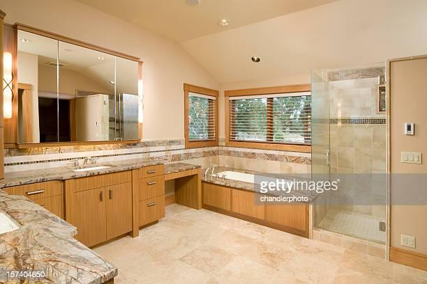Une grande salle de bains en marbre