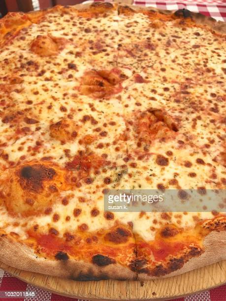 large margherita pizza - cheese pizza stock photos and pictures