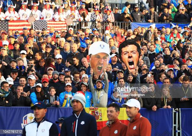 Large masks of Rory McIlroy and Ian Poulter during the morning fourball matches of the 2018 Ryder Cup at Le Golf National on September 28 2018 in...