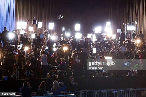A large media group awaits US President Barack Obama before his election night rally in Chicago