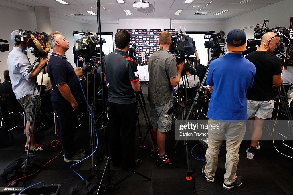 A large media pack look on during Essendon Bombers AFL Chairman Paul Little press conference at True Value Solar Centre on March 26, 2014 in Melbourne, Australia.