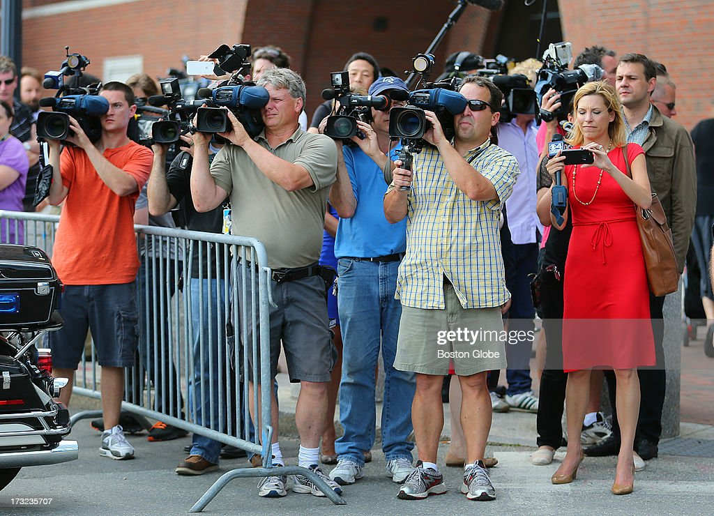 A large media presence outside the courthouse. Alleged Boston Marathon bomber Dzhokhar Tsarnaev appeared for an arraignment at the John Joseph Moakley United States Courthouse to face charges in the Boston Marathon bombings.