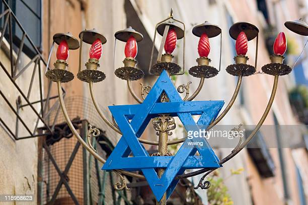large menorah with blue Star of David