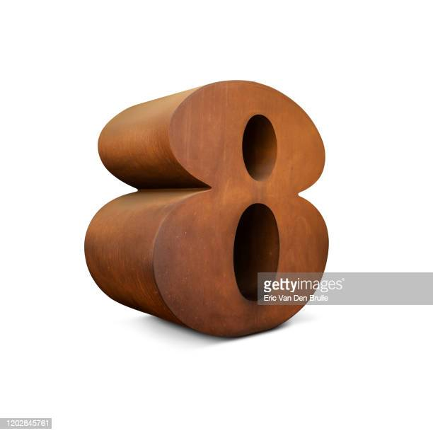 large metal 3d number 8 - eric van den brulle stock pictures, royalty-free photos & images