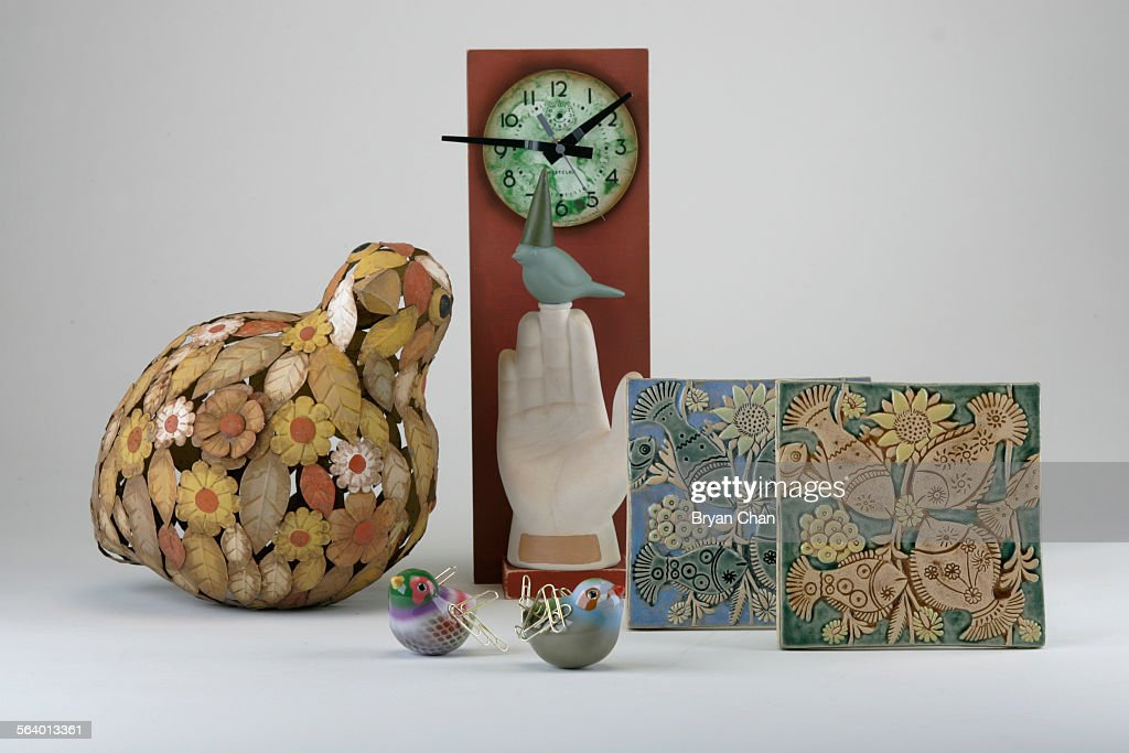 Large Metal Floral Chicken Left Clock Assemblage Magnetic Singing Birds And  Fish Tiles