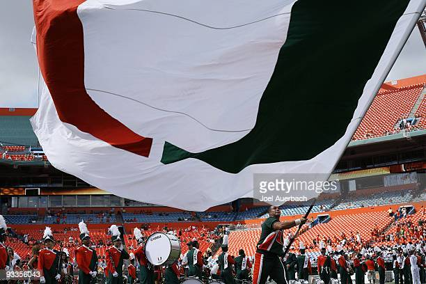 A large Miami Hurricanes flag is flown prior to the team entering the field for the game against the Duke Blue Devils on November 21 2009 at Land...
