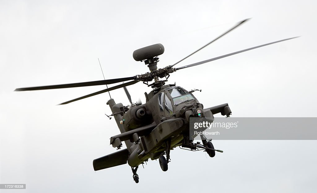 Large military helicopter in flight : Stock Photo