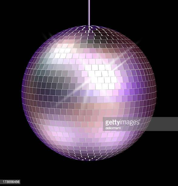 Large mirrored disco ball with black background