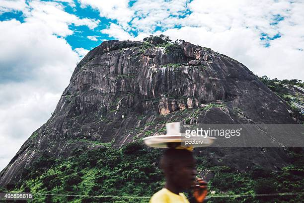 large monolith rock near abuja. - abuja stock pictures, royalty-free photos & images