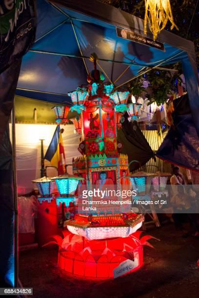 large multi colured vesak lanterns on display - buddha's birthday stock pictures, royalty-free photos & images