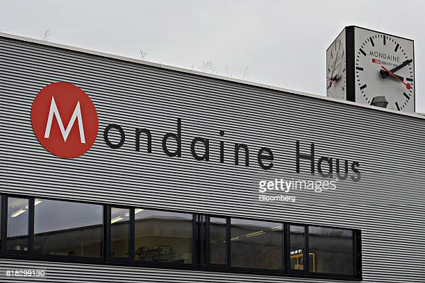 A large multisided clock sits on the roof of the Mondaine Watch Ltd watch production facility in Solothurn Switzerland on Tuesday Oct 25 2016...