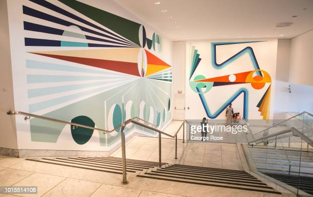 Large mural by artist Eamon Ore-Giron, located in the entrance of the Hammer Museum on Wilshire Blvd in Westwood Village, is viewed on August 7, 2018...