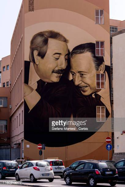 A large mural created by Rosk and Loste two artists from Caltanissetta which portrays judges Giovanni Falcone and Paolo Borsellino killed by the...