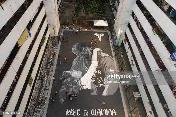 A large mural tribute for basketball legend Kobe Bryant and his daughter is seen in Taguig Philippines on January 30 2020 On last January 26 nine...