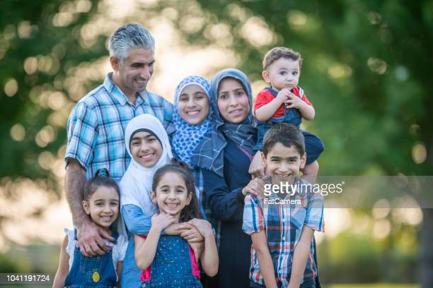 large muslim family - syria stock pictures, royalty-free photos & images
