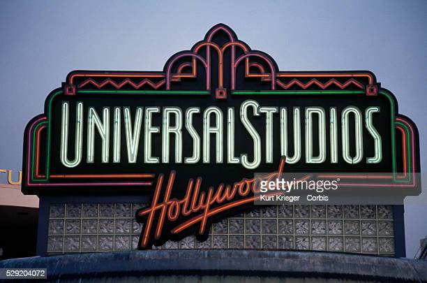 A large neon sign stands at the entrance to Universal Studios Los Angeles California USA