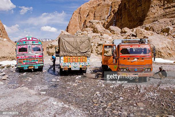 Large Nullah crossing in the canyon before Pang on the Manali-Leh road . Nullahs are small mountain streams, often crossing over the road near...