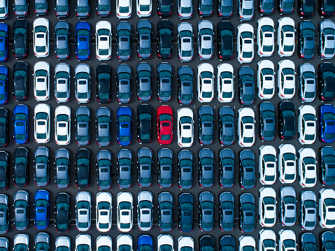 Large number of cars at parking lot - gettyimageskorea