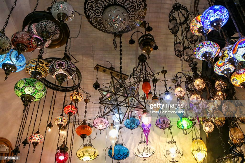 Colorful chandeliers pictures getty images large number of colorful chandeliers hanging from the ceiling egyptian spice bazaar istanbul aloadofball Images