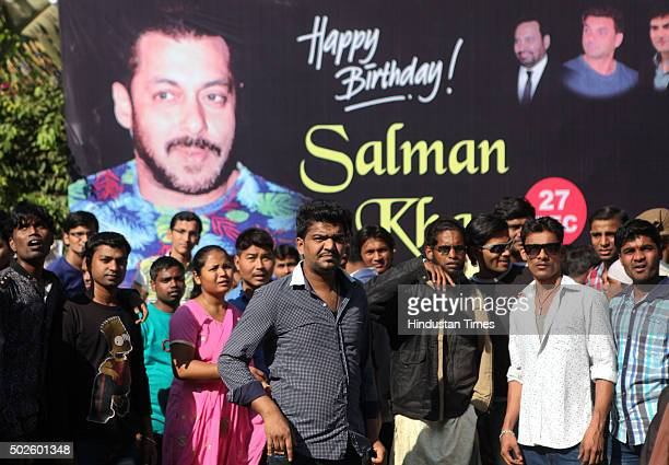 Large number of fans gathe outside the Bandra residence of Bollywood actor Salman Khan on his 50th birthday on December 27 2015 in Mumbai India...