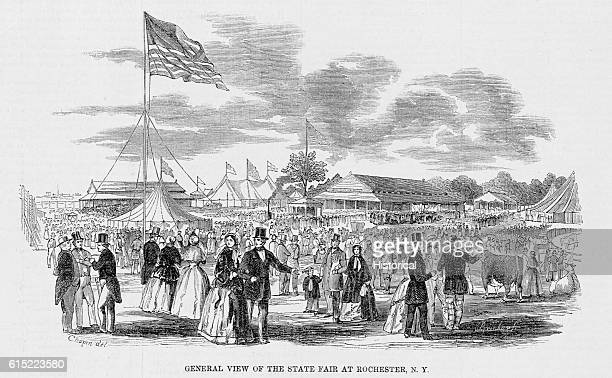 A large number of people attend the state fair in Rochester New York in October 1851