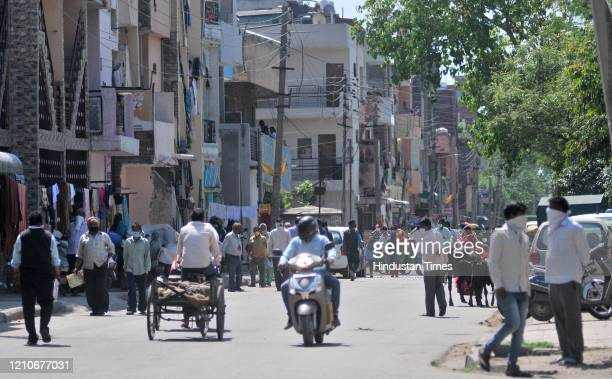 Large number of residents coming out on streets during the lock down at Ramdarbar on April 22, 2020 in Chandigarh, India.