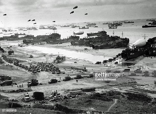 A large number of ships in front of Omaha Beach 9th June 1944 They have been delivering troops equipment and vehicles lining up to leave the beach...