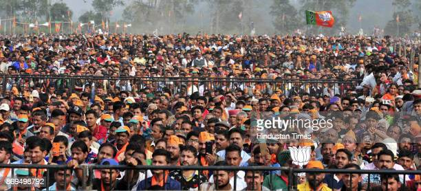 Large Numbers Of BJP supporters during the Prime Minister Narendra Modi election campaign rally at Dhaula Kuan on November 2 2017 in Sirmour India