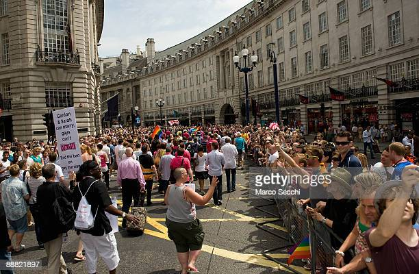 A large numbers of partecipants march to Trafalgar Square during the London Pride Parade on July 4 2009 in London England This years London Pride's...