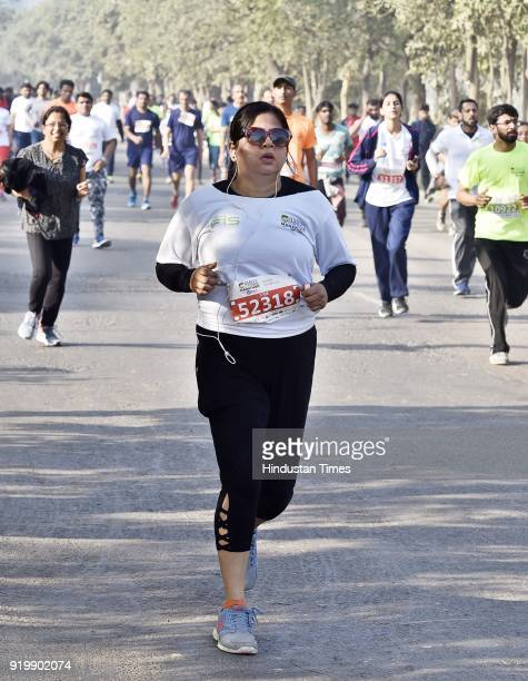 A large numbers of runners from across Delhi NCR participating during an annual Amity Gurgaon Marathon that started and culminated at Leisure valley...