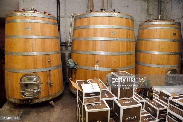 Large oak fermentation barrels of Pinot Grigio at Kabaj Morel Guest House and winery Slovrenc Dobrovo Brda Slovenia