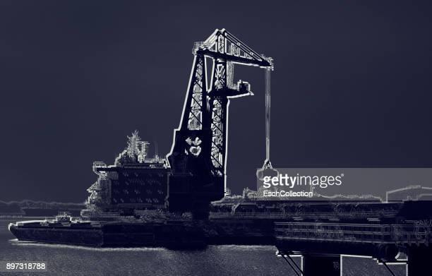 Large offshore crane platform at the Port of Rotterdam
