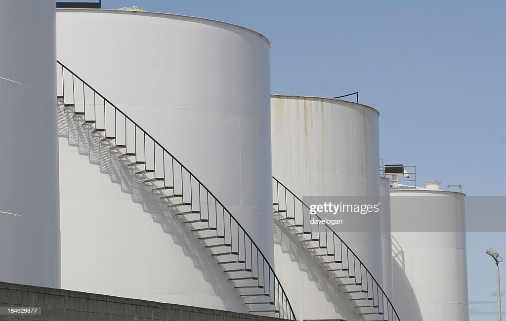 Large Oil Storage Tanks Stock Photo - Getty Images