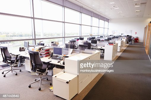 large open plan office interior without people stock photo | thinkstock