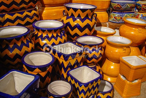 Large Orange And Blue Mexican Pots Stock Photo