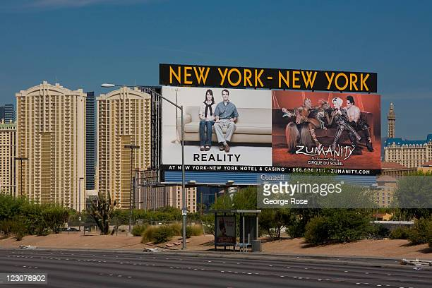 A large outdoor billboard near McCarran International Airport promotes the New York New York Hotel on August 12 in Las Vegas Nevada With tourism...