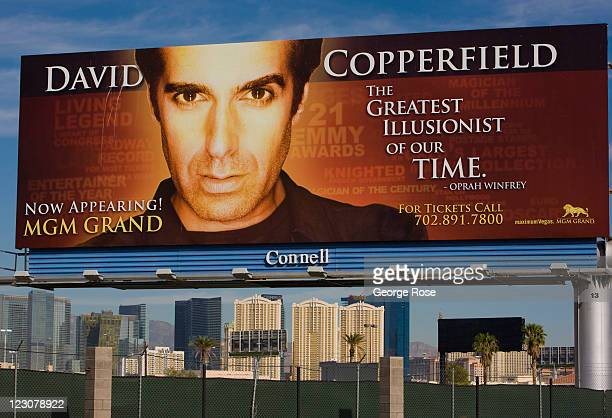 A large outdoor billboard near McCarran International Airport promotes a David Copperfield show at the MGM Grand Hotel on August 12 in Las Vegas...