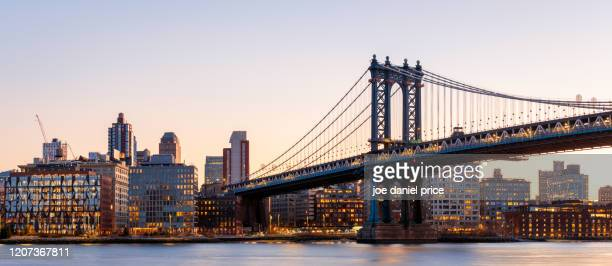 large panorama, manhattan bridge, east river, new york city, new york, america - new york state stock pictures, royalty-free photos & images