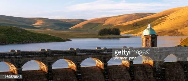 large panorama, sunset, craig goch dam, rhayader dams, rhayader, elan valley, wales - goch stock photos and pictures