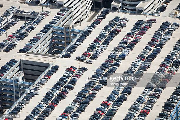 Large Parking Ramp Roof Aerial with Vehicles
