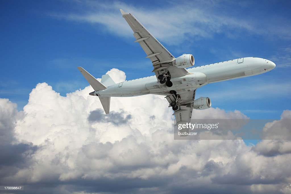 Large Passenger Airplane Flying in the Sky : Stock Photo