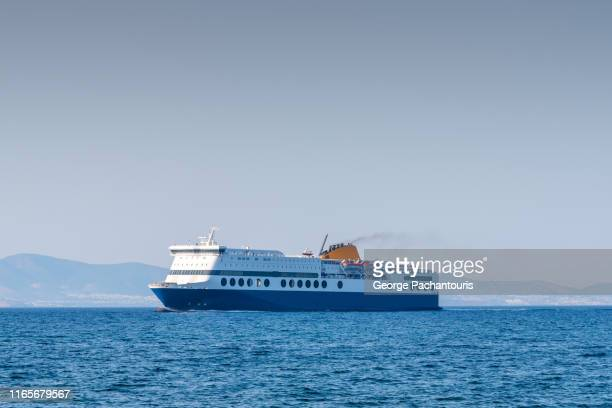large passenger and car ferry at sea - ferry stock pictures, royalty-free photos & images