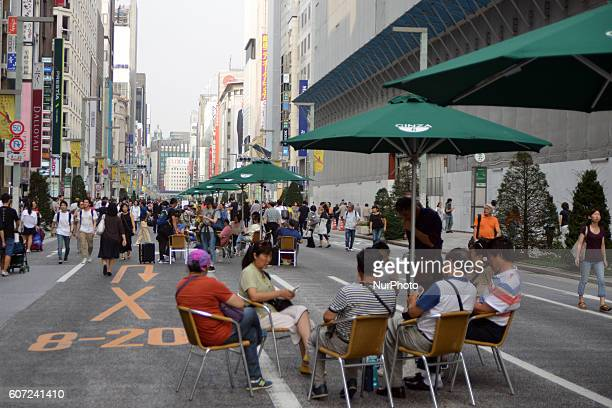 A large pedestrian zone is created every Saturday in Ginza Chuo Street to allow shoppers and visitors to roam the area about the normally busy...