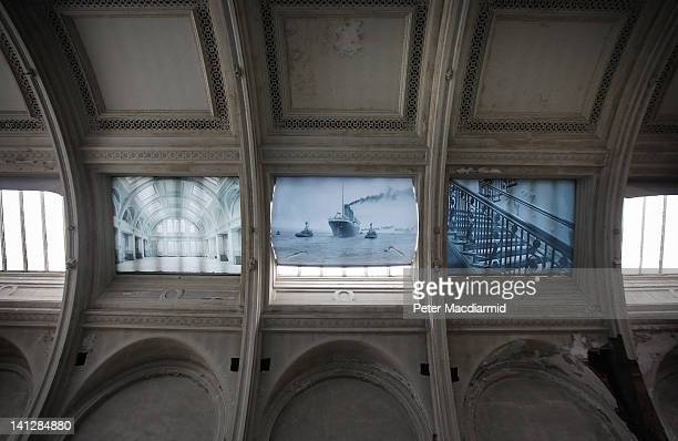 Large photographs of the Titanic are mounted in roof windows in the old Harland and Wolff Drawing Office in The Titanic Quarter on March 13 2012 in...