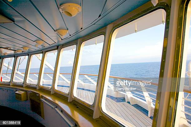 Large picture windows aboard yacht in Med