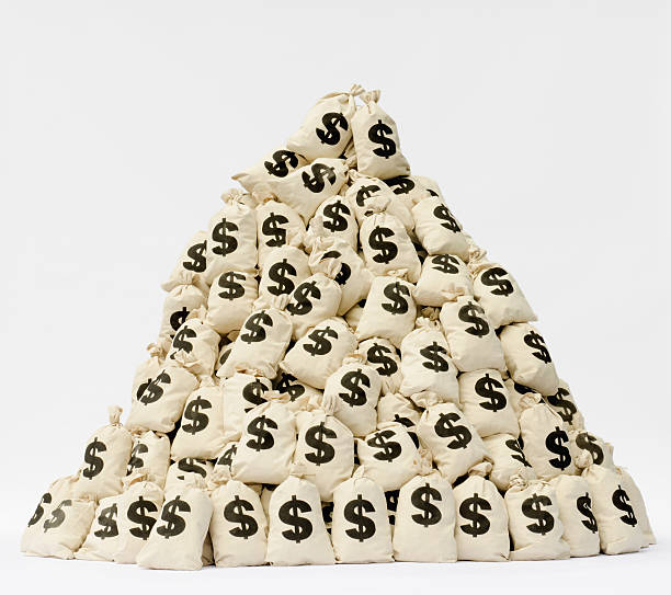 Large Pile Of Money Bags In A Pyramid Shape. Wall Art