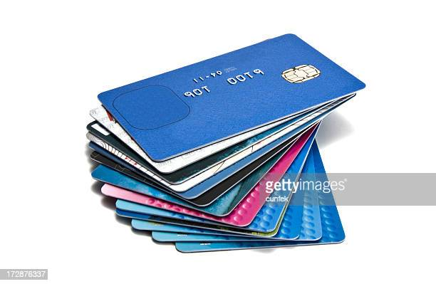 large pile of old credit cards - passport stamp stock photos and pictures