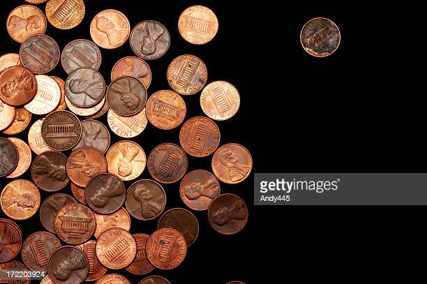 large pile of pennies on a black background - us coin stock pictures, royalty-free photos & images